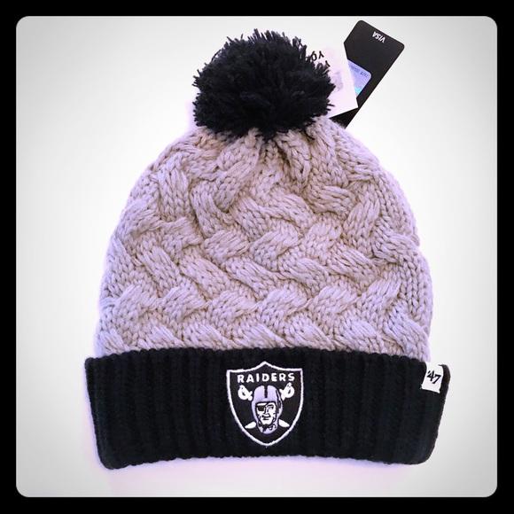 d70fe36cd5b9a1 47 Accessories | Matterhorn Oakland Raiders Pom Pom Beanie Nwt ...